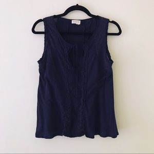 ANTHROPOLOGIE Navy Blue Cotton Tank